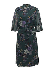 Hallie 3/4 Sl. Dress - AMAZON GREEN