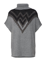 Marcella 1/2 Sl. Poncho - MEDIUM GREY MELANGE