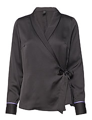 Vienna L/S Wrap Blouse - BLACK