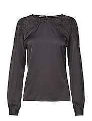 Vienna L/S Lace Blouse - BLACK