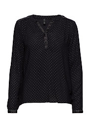 Viana V-neck Blouse - BLACK