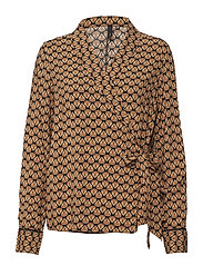Veronika L/S Wrap Blouse - AUTUMN SPICE