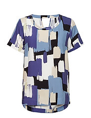 Alberte S/S Blouse - STEEL BLUE