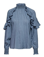 Esther L/S Blouse - STEEL BLUE