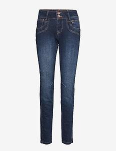 Stacia Curved Skinny - RAW BLUE DENIM