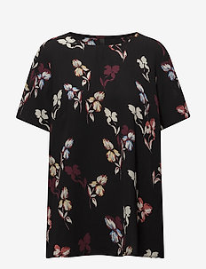 Flower Blouse - kortärmade blusar - black