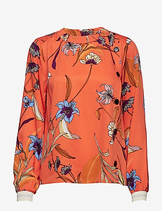 PzSigne L/S Shirt AOP - VERMILLION ORANGE