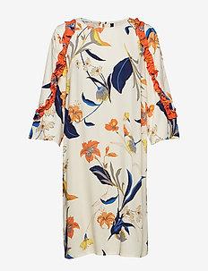 PzSigne 3/4 Sl. Dress AOP - CHAMPAGNE