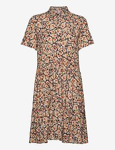 PZKENYA Dress - skjortklänningar - black/orange flower print