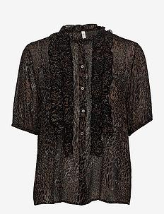 PZAMAYA Blouse Premium Quality - kortermede bluser - black printed