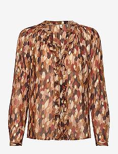 PZMANJA Shirt - langermede bluser - chocolate brown printed