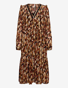 PZHELMA Dress - midi kjoler - chocolate brown printed