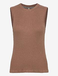 PZSARA Pullover - strikveste - brownie melange