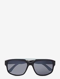 PU0013S - okulary przeciwsłoneczne w kształcie litery d - black-black-silver