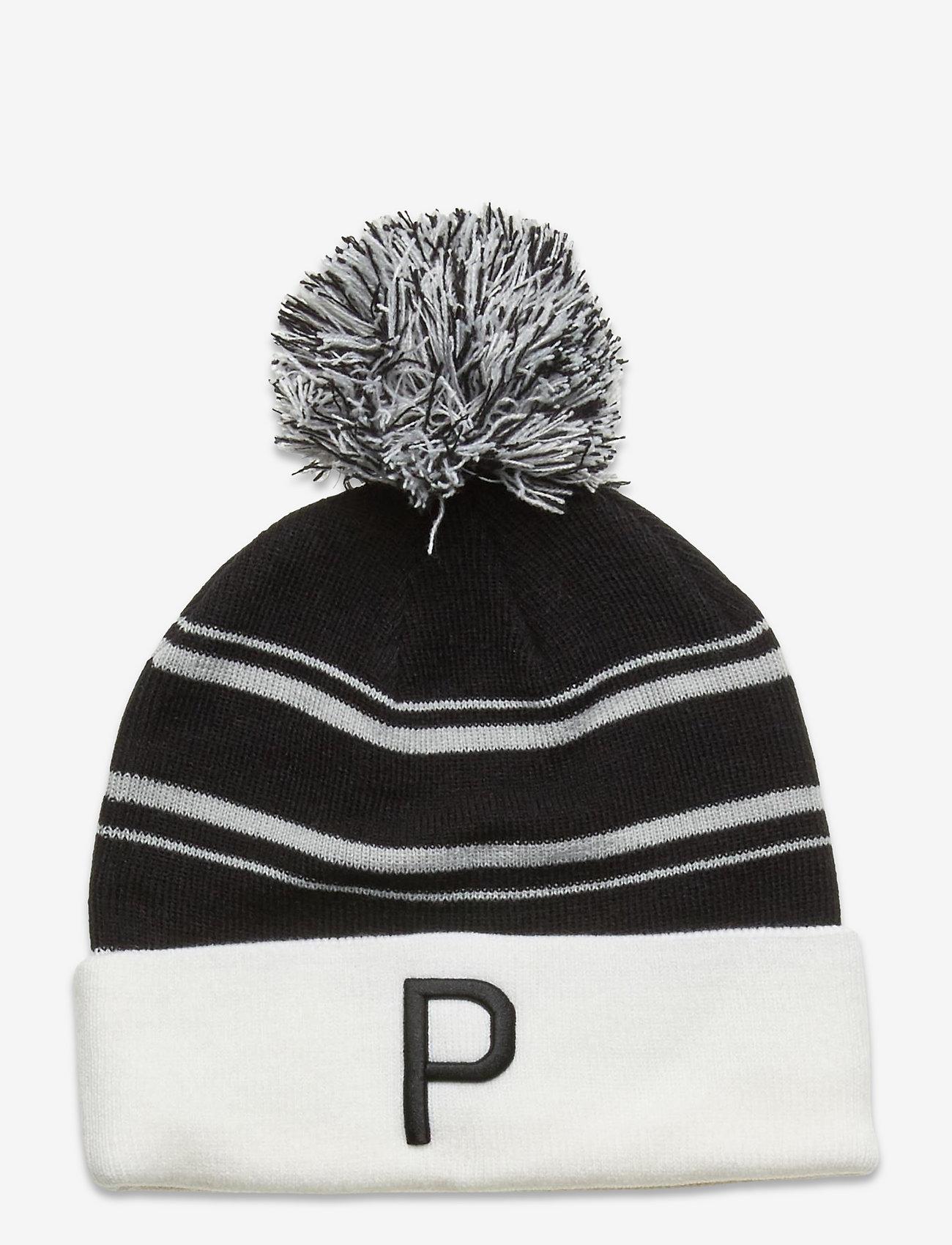 PUMA Golf - Men's P Removable Pom Beanie - mössor - puma black-bright white-high rise - 0