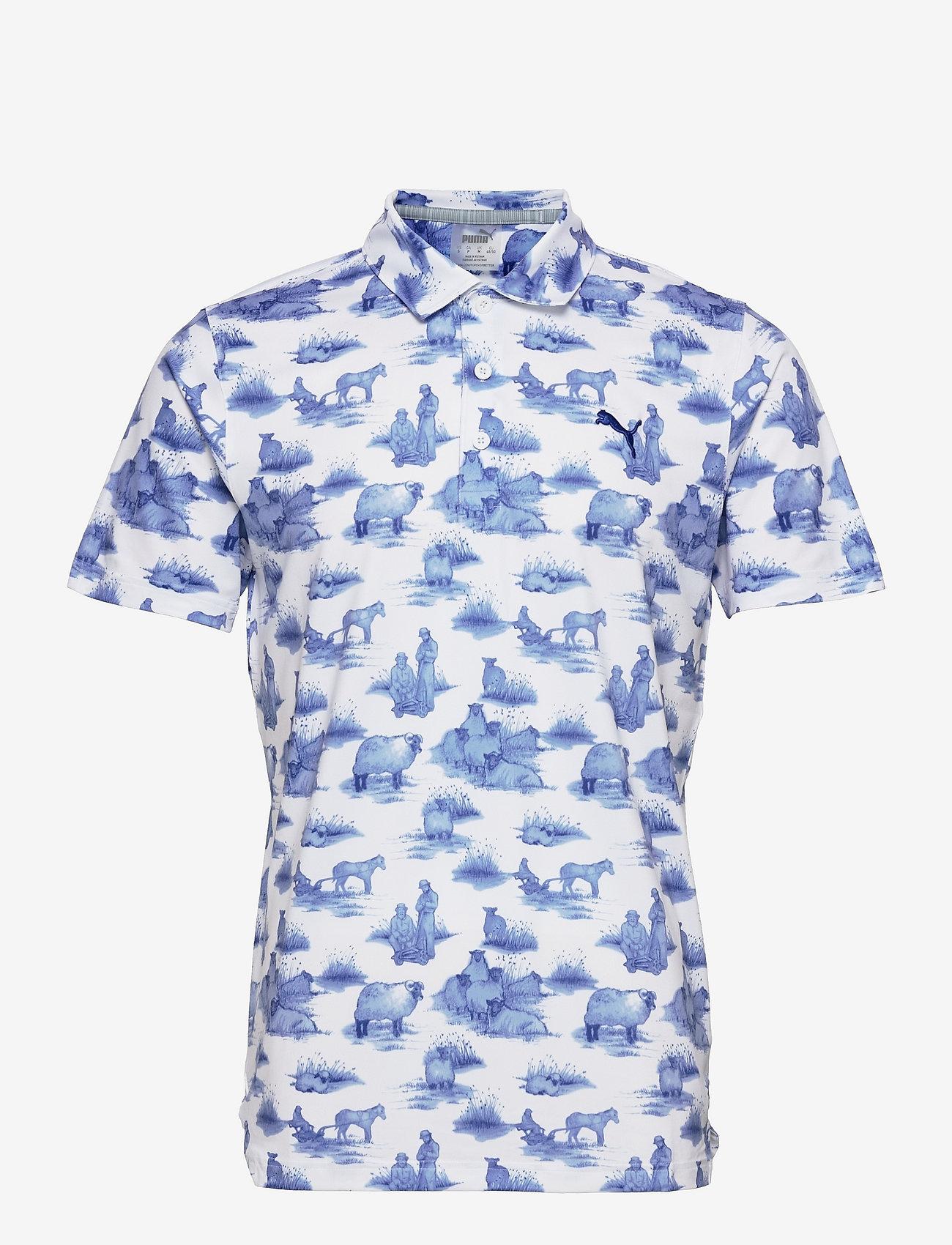 PUMA Golf - Cloudspun Mowers Polo - pikeer - bright white-mazarine blue - 0