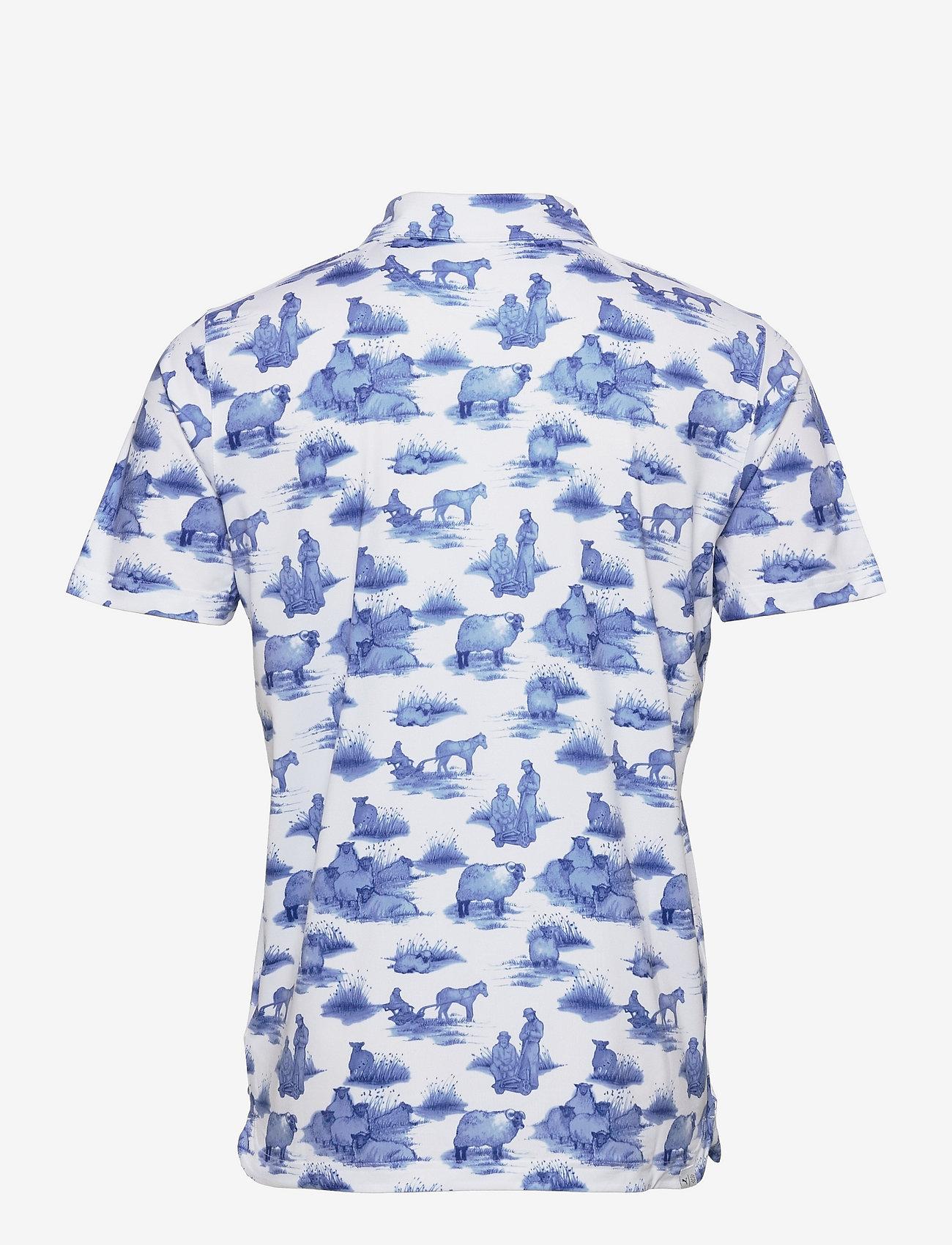 PUMA Golf - Cloudspun Mowers Polo - pikeer - bright white-mazarine blue - 1