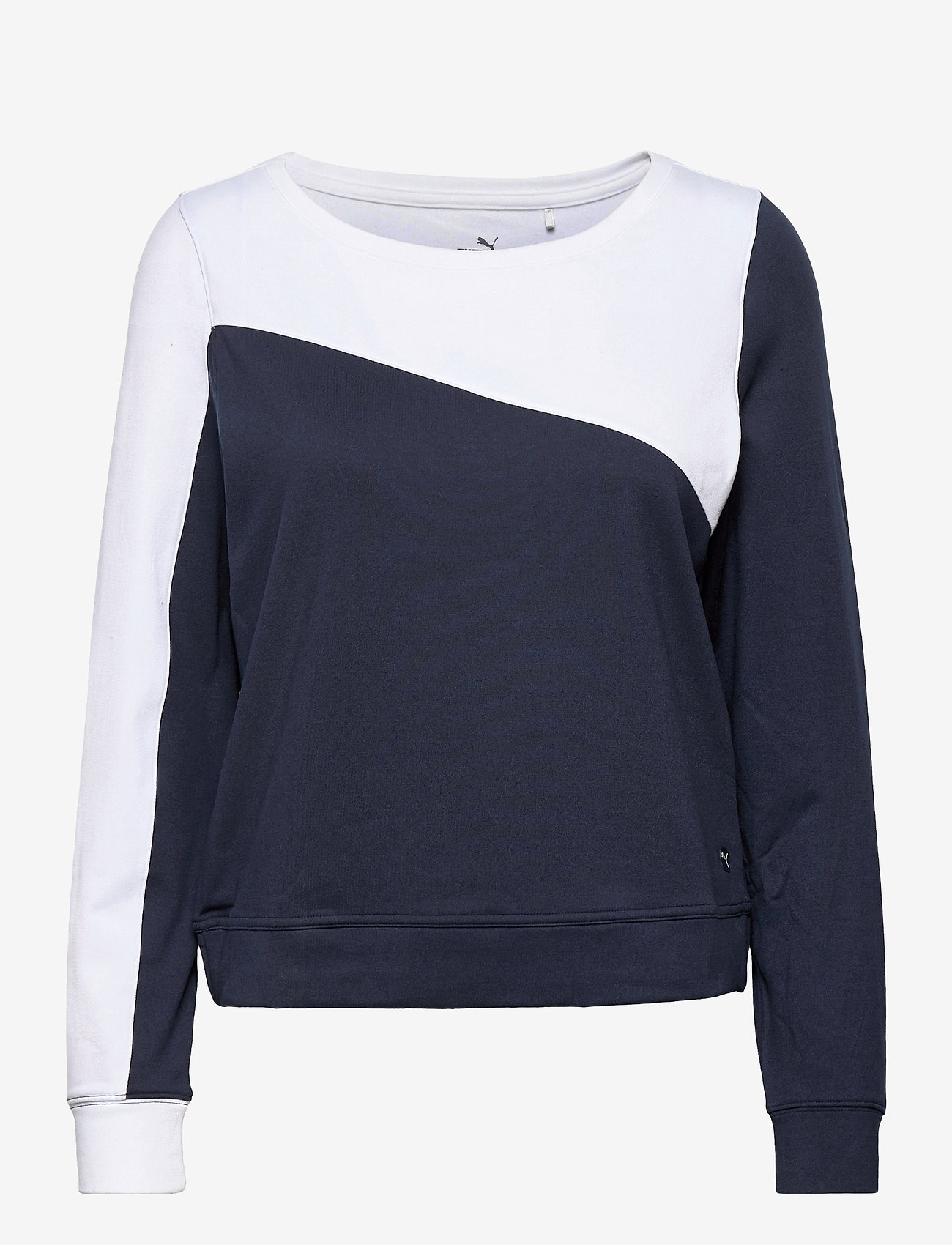 PUMA Golf - W Colorblock Crew - sweatshirts - navy blazer-bright white - 0