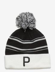 Men's P Removable Pom Beanie - PUMA BLACK-BRIGHT WHITE-HIGH RISE