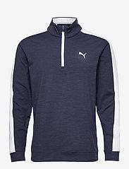 PUMA Golf - Cloudspun T7 1/4 Zip - golf jackets - navy blazer heather-bright white - 0