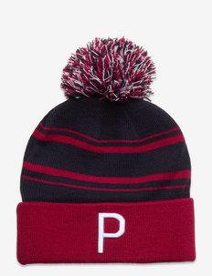 Men's P Removable Pom Beanie - mössor - navy blazer-persian red-bright whit