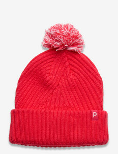 Women's Removable Pom P Beanie - hats - teaberry-bright white
