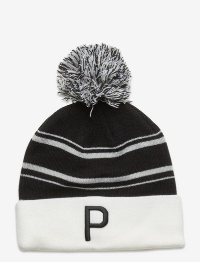 Men's P Removable Pom Beanie - mössor - puma black-bright white-high rise