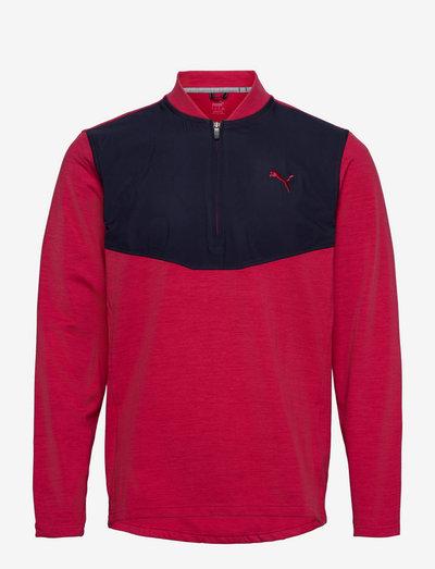 Cloudspun Stlth  Zip - longsleeved tops - persian red heather-navy blazer
