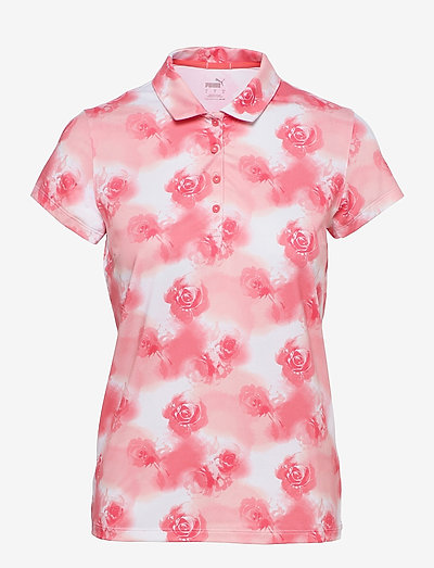 W Cloudspun Watercolor Floral Polo - polo's - georgia peach-ignite pink