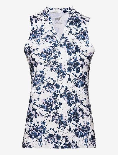 Cloudspun Floral Tie Dye SL Polo - polo's - navy blazer-light lavender