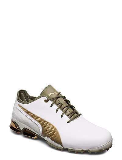 pumas shoes white and gold