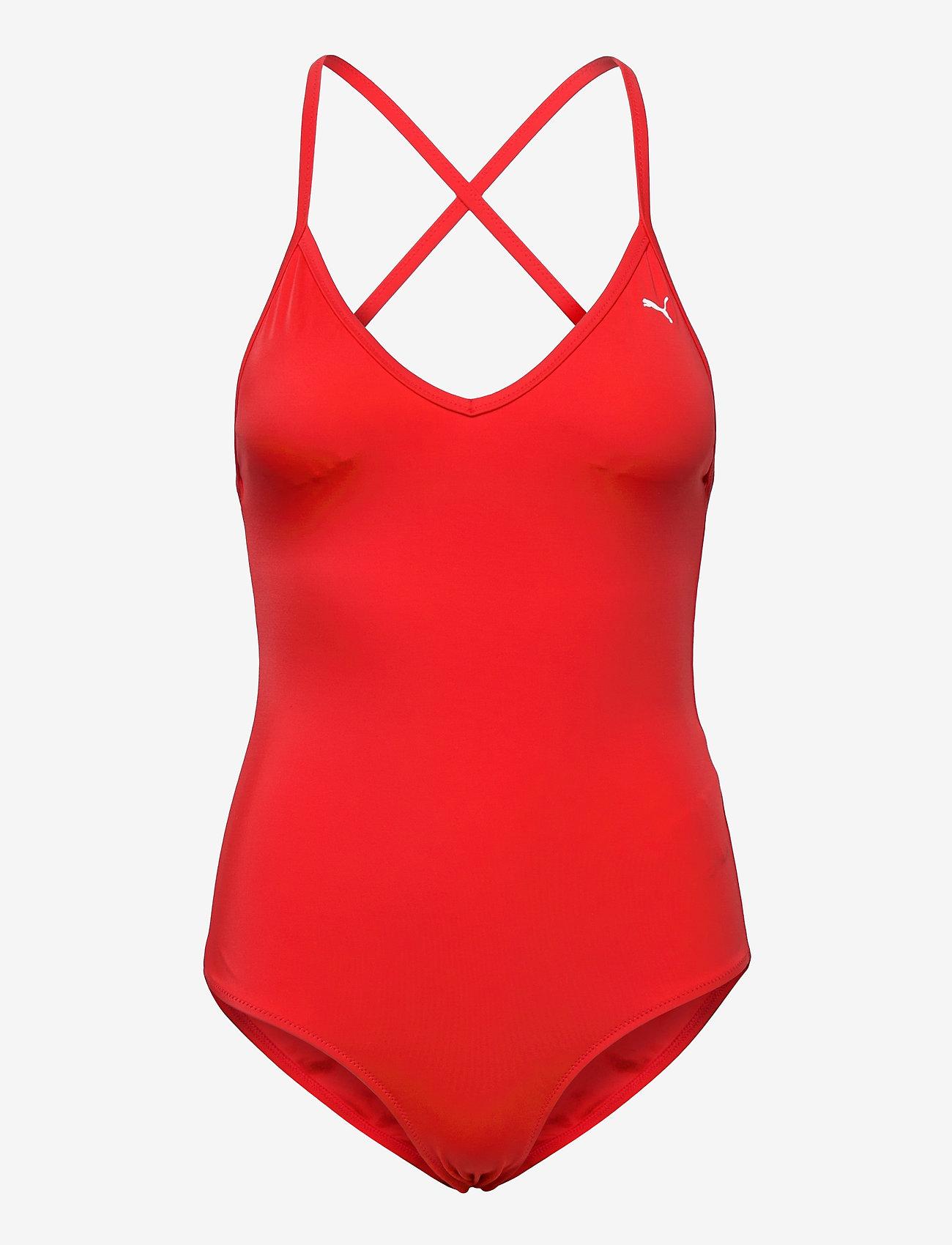 Puma Swim - PUMA SWIM WOMEN V-NECK CROSSBACK SW - stroje kąpielowe - red - 0
