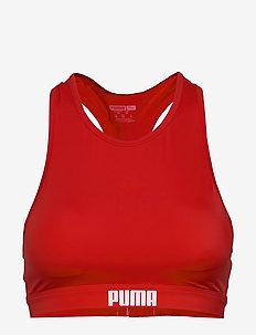 PUMA SWIM WOMEN RACERBACK SWIM TOP - bikini overdele - red