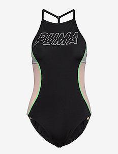 PUMA SWIM WOMEN RACERBACK SWIMSUIT - stroje kąpielowe - black combo