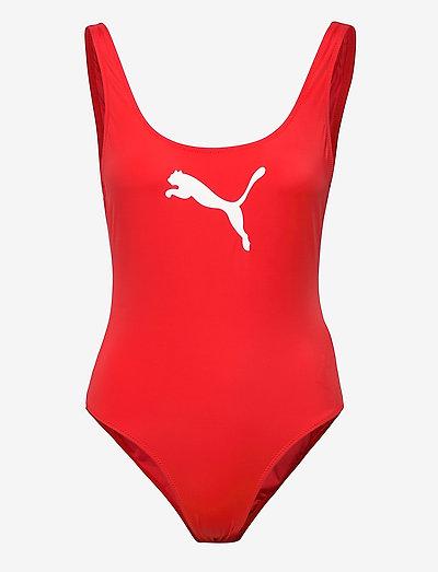 PUMA SWIM WOMEN SWIMSUIT 1P - sportiga badkläder - red