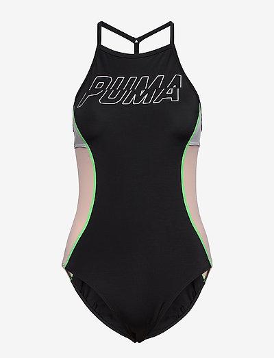 PUMA SWIM WOMEN RACERBACK SWIMSUIT - sportiga badkläder - black combo