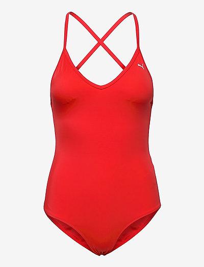 PUMA SWIM WOMEN V-NECK CROSSBACK SW - sportiga badkläder - red