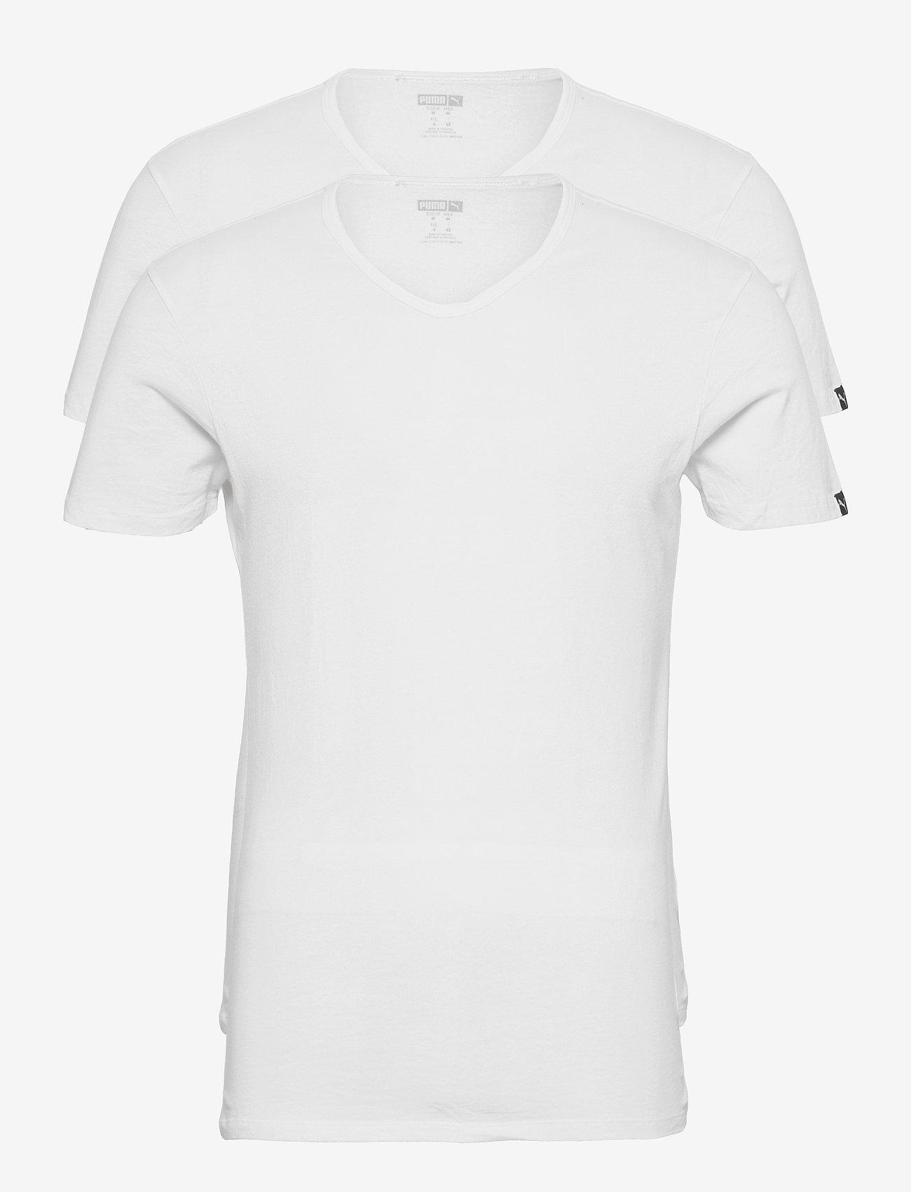 PUMA - PUMA BASIC 2P V-NECK - t-shirts - white - 1