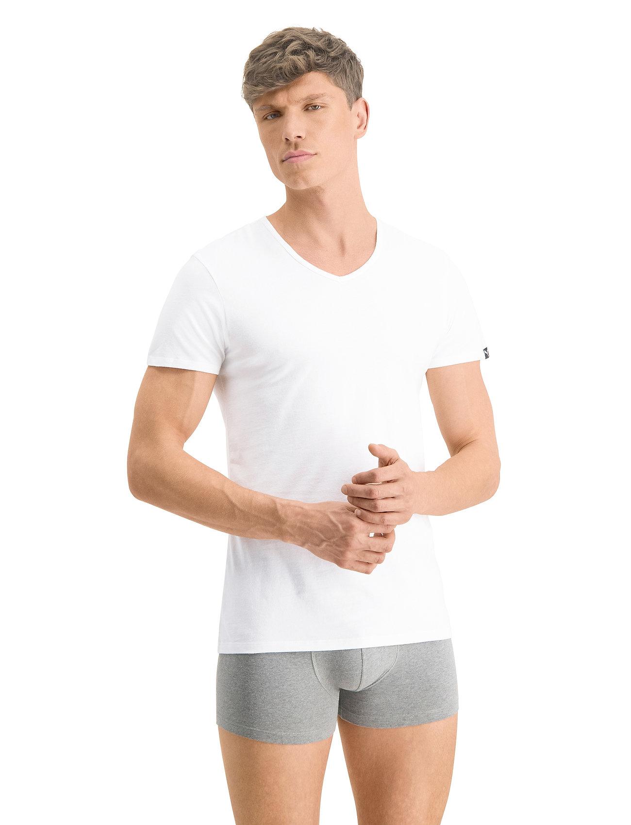 PUMA - PUMA BASIC 2P V-NECK - t-shirts - white - 0