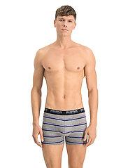 PUMA - PUMA MEN GRADIENT STRIPE BOXER 2P - boxer briefs - middle grey melange / blue - 0