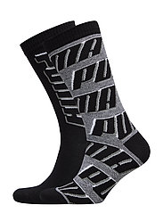 PUMA SOCK ALL OVER  LOGO 2P UNISEX - BLACK