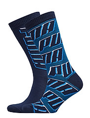 PUMA SOCK ALL OVER  LOGO 2P UNISEX - LIGHT GREY / BLUE