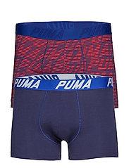 PUMA OPTICAL LOGO AOP BOXER 2P - RED / BLUE / BLACK