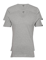 PUMA BASIC 2P V-NECK - MIDDLE GREY MELANGE