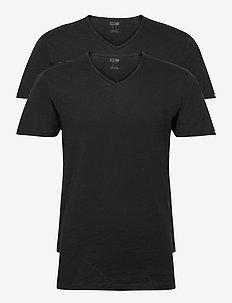 PUMA BASIC 2P V-NECK - t-shirts - black