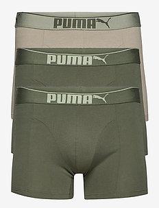 PUMA PREMIUM SUEDED COTTON BOXER 3P - underwear - dark green combo