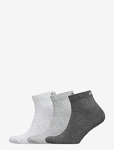 PUMA UNISEX QUARTER PLAIN 3P - ankle socks - anthraci/l mel grey/m mel grey