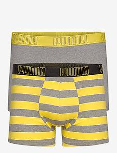 PUMA YD BOLD STRIPE BOXER 2P - unterwäsche - yellow / grey melange