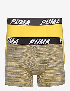 PUMA SPACEDYE STRIPE BOXER 2P - unterwäsche - yellow / grey melange