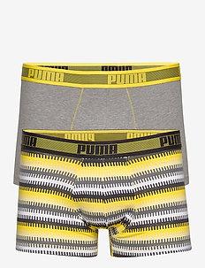 PUMA WORLDHOOD STRIPE TRUNK 2P - boxershortser - yellow / grey melange